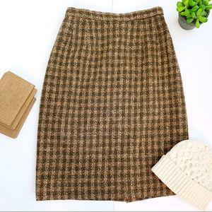 Pendleton Vintage Brown Tartan Wool Pencil Skirt